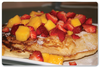 Mango and Strawberry Pancakes