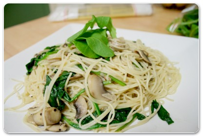 Mushroom and Rocket Linguine